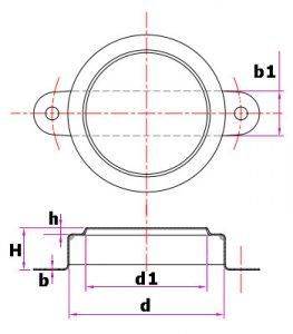 Изображение чертежа маленькой пломбы для бочки 200 литров