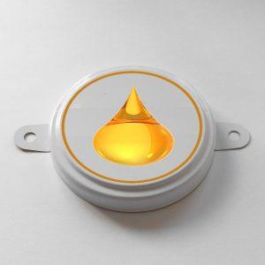 Изображение большой пломбы с логотипом для бочки 200 литров.
